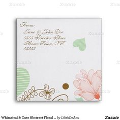 Whimsical & Cute Abstract Floral Envelope #2