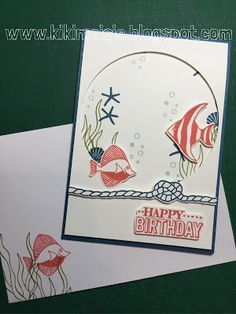 Stampin' Up! Stamps: Seaside Shore, SAB Big Day Ink/Cardstock: Whisper White, Calypso Coral, Old Olive, Dapper Denim, Soft Sky