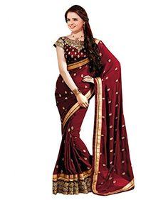 Glory Sarees Women's Georgette Saree(sukanya maroon saree_maroon) - http://www.onlinesaleindia.in/product/glory-sarees-womens-georgette-sareesukanya-maroon-saree_maroon/
