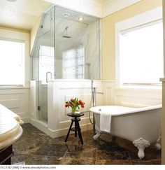 Bathroom with corner shower stall and clawfoot tub, Victoria, Vancouver Island, B.And its just what our bathroom needs! Corner Shower Stalls, Walk In Shower Enclosures, Tub Enclosures, Bathroom Photos, Bathroom Ideas, Bath Ideas, Bathroom Layout, Bathroom Inspiration, Shower Ideas