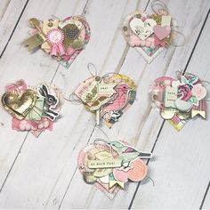 "🎀𝓢𝓽𝓮𝓹𝓱𝓪𝓷𝓲𝓮🎀 on Instagram: ""So much time when into it, but so much fun to make @maggiehdesign @cratepaper : : : #DiyTag #PocketLeather #FlipBook #HappyMail…"" Shabby Chic Embellishments, Scrapbook Embellishments, Handmade Tags, Crate Paper, Candy Cards, Paper Tags, Vintage Crafts, Scrapbook Paper Crafts, Goodies"