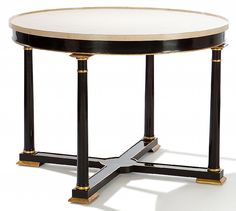 CastellI Gallery Table by Ebanista - Gallery table in ebonized finish with antiqued gold detailing. Antiqued linen crackle wrap top. Handcrafted in the USA. http://ebanista.com.