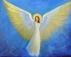 Original Acrylic Painting Healing Energy Angel  8 x by BrydenArt