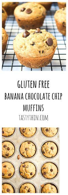 Gluten Free Banana Chocolate Chip Muffins - a delicious banana muffin, super kid-friendly with no gluten or refined sugar!   tastythin.com