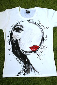 Women face to face in the mirror tshirt. Hand by palettePandora