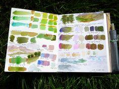 Watercolor practice mixing - pages 1+2 of sketchbook  marymcandrew.com