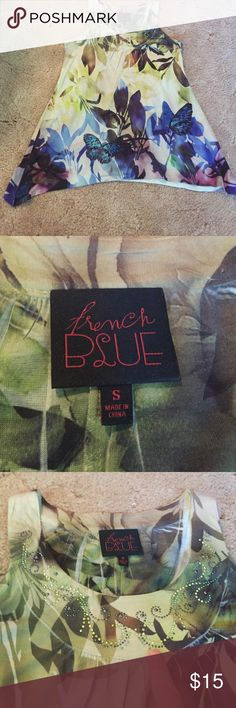 Paris Blues Top Super Cute Sleeveless Top with Flares at both sides.....beautiful colors.....EUC Paris Blues Tops Tunics