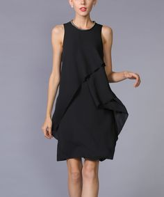 Another great find on #zulily! LAKLOOK Black Tulip-Overlay Sheath Dress - Plus Too by LAKLOOK #zulilyfinds