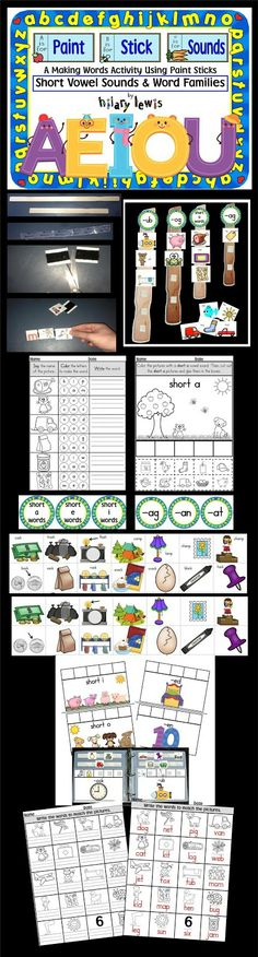 Short Vowel Paint Stick Phonics is a fun way to sort short vowel sounds. Pages included to sort pics into a notebook as well!