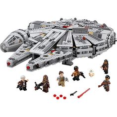 One of the most iconic starships of the Star Wars saga is back, and it's leaner and meaner than ever before! As featured in exciting scenes from Star Wars: The Force Awakens, this latest LEGO® version of the Millennium Falcon is crammed with new and updated external features, including an even more streamlined and detailed design, detachable cockpit with space for 2 minifigures, rotating top and bottom laser turrets with hatch and space for a minifigure, dual spring-loaded shooter...