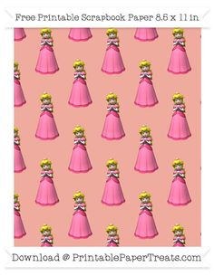 Free Pastel Coral Large Princess Peach Pattern Paper