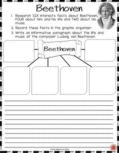 Music Composers!  BEETHOVEN Research Activity Sheets  Students work on research, technology, reading, comprehension and writing skills as they research the life and music of composer Ludwig van Beethoven.  There are TWO different activity sheets and TWO versions of each. These are designed to suit different ages/abilities. ♫ CLICK through to read more or repin for later!   ♫