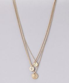 Take a look at this Gold & Green Triple Chain Pendant Necklace by Marlyn Schiff on @zulily today!