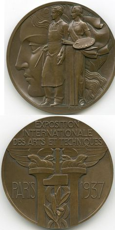 Pierre Turin : Exposition internationale des Arts et Techniques, Paris, 1937. Bronze, 6.8 cm