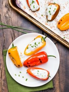 http://www.garnishwithlemon.com/grilled-peppers-with-goat-cheese/
