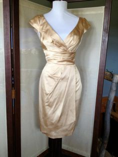 Deep V-neck Gold Satin Ruched Cocktail Dress Sheath Silhouette