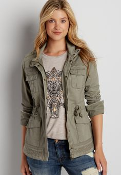 military jacket with lace trim (original price, $49.00) available at #Maurices----JUST purchased! Love the look of this jacket!