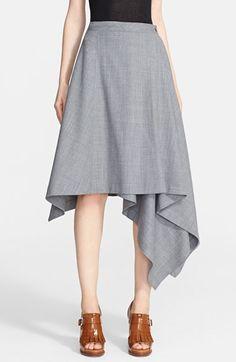 Michael Kors Asymmetrical Hem Tropical Wool Skirt