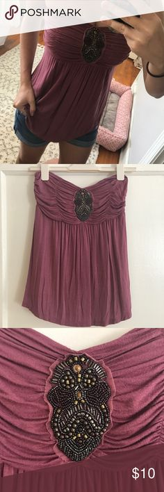 Mauve Strapless Top with Beaded Detail Normal wear, in good condition! This top is great for bustier girls! Can easily be dressed up or down! Tops Tank Tops