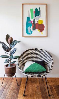 Tour a Vibrant Melbourne Home With Graphic Accents (MyDomaine) Decoration Inspiration, Interior Inspiration, Design Inspiration, Acapulco Chair, Masculine Interior, Rubber Tree, Melbourne House, Deco Boheme, Fiddle Leaf Fig