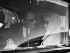 At London Airport, Marilyn Monroe farewells Arthur Miller, who is returning to the USA to visit his children. August 27th 1956.