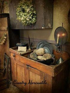 Inspirational Vignettes. Primitive Homes, Primitive Kitchen, Primitive Antiques, Primitive Country, Primitive Decor, Prim Decor, Country Decor, Rustic Decor, Rustic Style