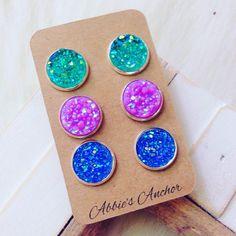 Set of 3 mermaid inspired fauz druzy stud earrings – Abbie's Anchor