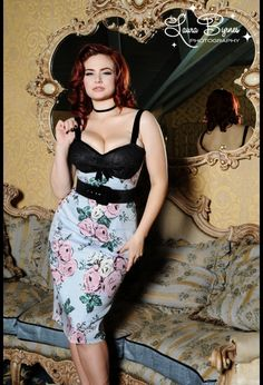 Deadly Dames Courtesan Wiggle Dress in Victorian Rose