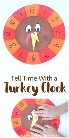 Practice telling time with a fun paper plate turkey clock - a fun Thanksgiving math game.