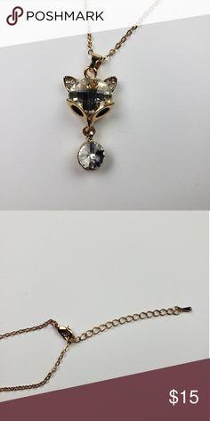 b1da6d0a46b Rose Gold Fox Necklace Women s fashion rose gold tone necklace with fox  pendant. Imitation stones