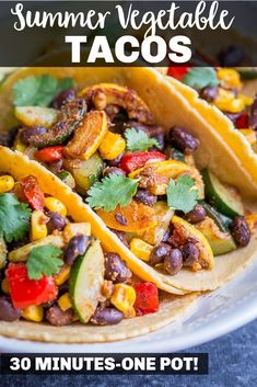 These Vegan Black Bean Tacos with Summer Vegetables only take 30 minutes to make and are so healthy and delicious! They're perfect for your next taco night and so easy to make! #tacos #blackbeans #vegantacos #vegetarian Vegan Recipes Easy, Veggie Recipes, Mexican Food Recipes, Vegetarian Recipes, Free Recipes, Black Bean Tacos, Vegan Tacos, Vegan Meal Prep, Plant Based Eating