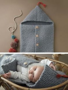 Free knitting pattern for Baby Sleeping Bag in garter stitch with hood, button front and tassel