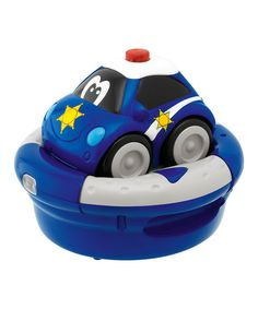 Hear the engine roar and the horn honk! Kids get to drive this police car and save the day as they maneuver it around easily with the press of a button. This truck comes with its own charging station, which also doubles as an easy-to-use remote control.Includes vehicle and remote control/charging stationBest Va...