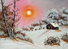 Warm Winter Day After Bob Ross Painting by Barbara Griffin - Warm Winter Day After Bob Ross Fine Art Prints and Posters for Sale Bronde Bob, Line Bob Haircut, Best Bobs, Bob Ross Paintings, Choppy Bob Hairstyles, Winter Painting, Inverted Bob, Dark Roots, Winter Scenes