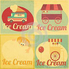 Set of Ice Cream Retro Labels by Elfivetrov, via Dreamstime