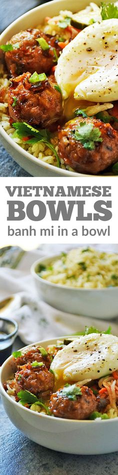 Vietnamese Banh Mi Bowl - A Vietnamese Banh Mi sandwich deconstructed and put over rice and then topped with a poached egg. Best of all it's an easy recipe using fresh ingredients to maximize flavor! #LTGrecipes #meatballrecipes #bowlrecipes #banhmi #ricebowls
