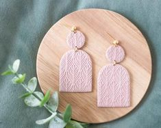Handmade jewellery and home decoration by Curpic on Etsy Handmade Jewellery, Unique Jewelry, Handmade Gifts, Powder Pink, Bamboo Cutting Board, Contemporary, Modern, Statement Earrings, Iris