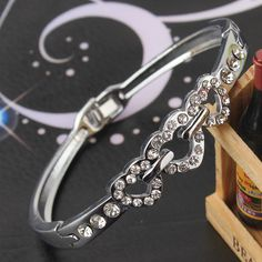 Delicate Trendy New Women/Lady's Stainless Steel Three Love  Heart Clear Austrian Crystal Bracelets & Bangles Jewelry Gifts