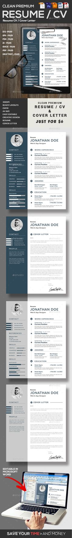 #Resume - Resumes #Stationery Download here: https://graphicriver.net/item/resume/19100809?ref=alena994