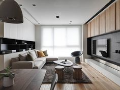 The Origin of the Polished Whetstone_Design Apartment-Design director Tang,Chung han-Interior design Living Room Tv, Interior Design Living Room, Home And Living, Living Room Designs, Living Room Furniture, Sala Grande, Apartment Interior Design, New Blue, Living Room Inspiration