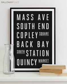 Boston Subway Sign   Typography Print   Modern Home Decor   Boston City Art  Poster