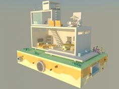 Low poly Modern House on Behance