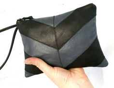 Black and gray leather chevron clutch / by amarafelicedesigns
