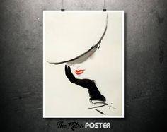 Fashion - Woman With Hat - René Gruau - Fashion Poster Vintage, Fashion Illustration, Women's Fashion, Fashion Wall Art Prints by TheRetroPoster on Etsy