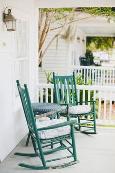 Green rockers on the porch.