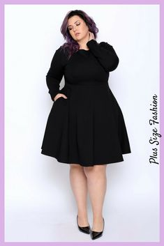 Beautiful minimalistic fit and flare black dress. Every woman needs a classic little black dress in her wardrobe and this one is gorgeous. #plussize #ad #littleblackdress