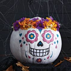 No-carve pumpkin: Sugar skull Even the craft-averse can make this gorj no-carve pumpkin. Our colorful printable does all the work for you.