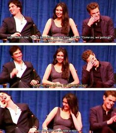 "Ian Somerhalder, Nina Dobrev and Paul Wesley of ""The Vampire Diaries"" Vampire Diaries Memes, Vampire Diaries Damon, Vampire Diaries The Originals, Paul Wesley, Damon Salvatore, Ian Somerhalder, Ian E Nina, Vampire Daries, Cw Series"