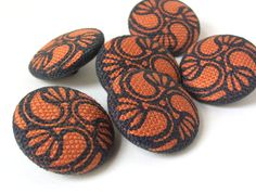 handprinted covered buttons 1inch set of 6 - Lilies Blue on Orange