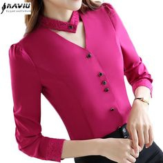 2017 New slim formal long sleeve women shirt OL autumn Elegant V-neck lace Patch. - 2017 New slim formal long sleeve women shirt OL autumn Elegant V-neck lace Patchwork chiffon blouse - Neck Designs For Suits, Kurti Neck Designs, Dress Neck Designs, Designs For Dresses, Blouse Designs, Stylish Dresses, Fashion Dresses, Office Ladies, Look Chic